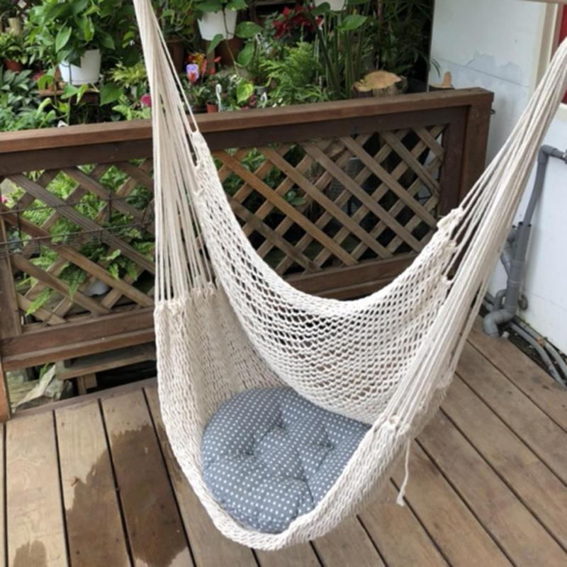 Hamaca Large Cotton Rope Hammock Chair Portable Hanging Chair Indoor Outdoor Use Hamak