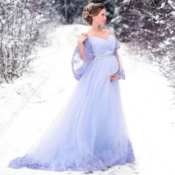 Eightree 2020 Wedding Dress Flare Sleeve Bridal Gown for Pregnant Vestidos de Novia Plus Size Appliques Robe Mariee - discount item  41% OFF Wedding Dresses
