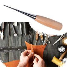 1 PC drewniany uchwyt szydła DIY skórzany namiot szycia szydło buty narzędzie do naprawy ręcznie Stitcher skórzane craft szydło dziurkacz narzędzia skórzane