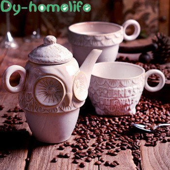European-style Hand-painted Retro Owl Relief Ceramic Coffee Tea Set Creative High-grade Letter Pot Tea Set Wedding Gift