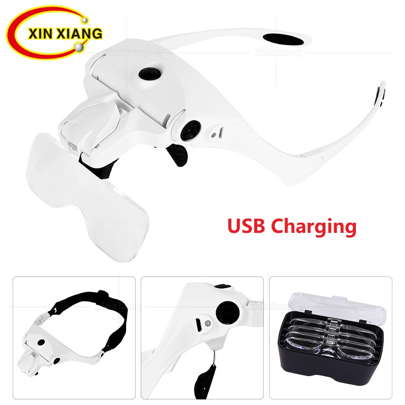 USB Charging Reading Magnifier Headband Backlit Magnifying Glasses With LED Eyewear Magnifier Glasses For Repair Binocular Len