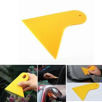 Hot sale 1pc Bubble Window Car Stickers Scraper Plate Glass Yellow Plastic Film Car Stickers Tools Car-Styling image