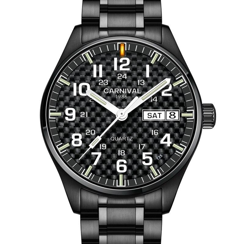Carnival Luxury Carbon Fiber T25 Tritium Luminous Quartz Watch Men Fashion Stainless Steel Wrist Watches Mens Waterproof Clock