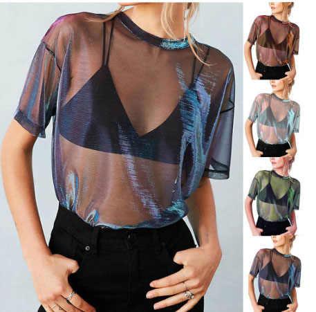 여름 B-링 투명 T 셔츠 여성 얇은 짧은 소매 메쉬 탑 Tshirt 파티 셔츠 캐주얼 느슨한 패션 T 셔츠 여성 S-XL