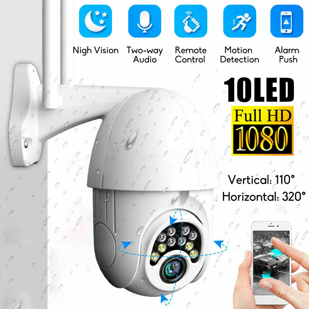 HD 1080P WIFI PTZ  IP Camera Wireless Wifi Outdoor Home Security Webcam Night Vision 2MP Surveillance Network Camera