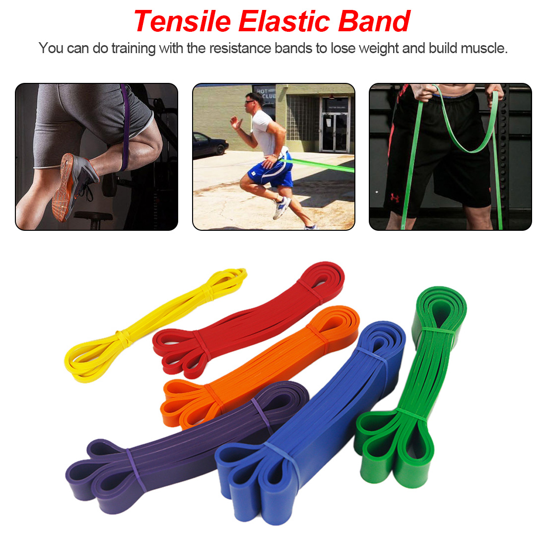 Fitness Rubber Bands Resistance Band Unisex Yoga Elastic Bands Loop Expander For Exercise Sports Equipment
