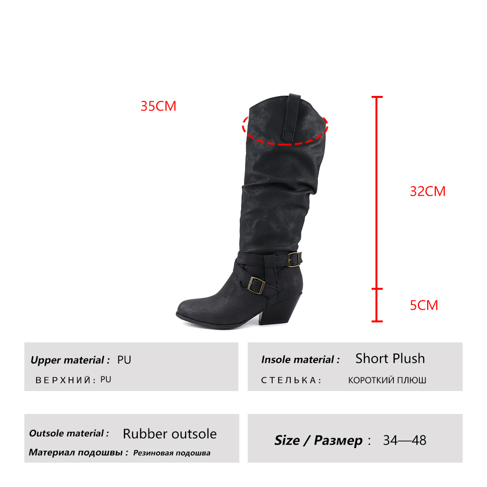 HARAVAL 2019 winter new long tube boots warm plus velvet belt buckle comfortable round head fashion thick with Martin boots B264 in Knee High Boots from Shoes