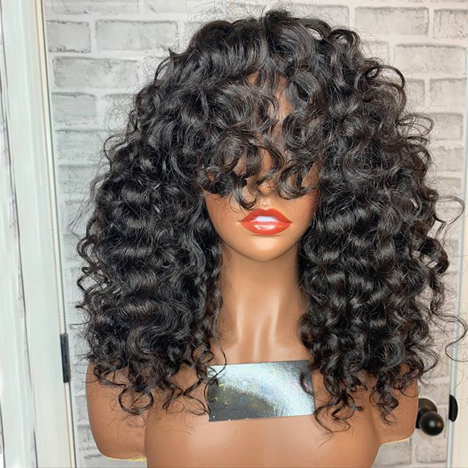 Natural Bouncy Curly Human Hair Lace Front Wigs With Bangs 180Density Full Lace Peruvian Remy Human Hair Bleach Knots Lace Wigs