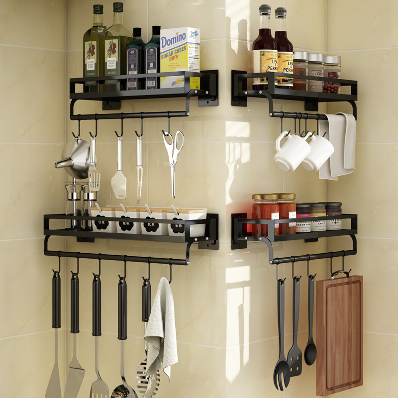 Kitchen Rack Rack Seasoning Rack Wall - Mounted Perforation-free Household Supplies Multi-functional Storage Rack Bathroom Rack