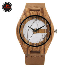 REDFIRE Men Watch Quartz Zebra Wood Watches Snow White Dial Genuine Leather Watch Strap Creative Wooden Timepiece Gifts Male bobo bird all zebra wood men s quartz watch analog japan movement 2035 casual wooden band wood watches as gifts for men