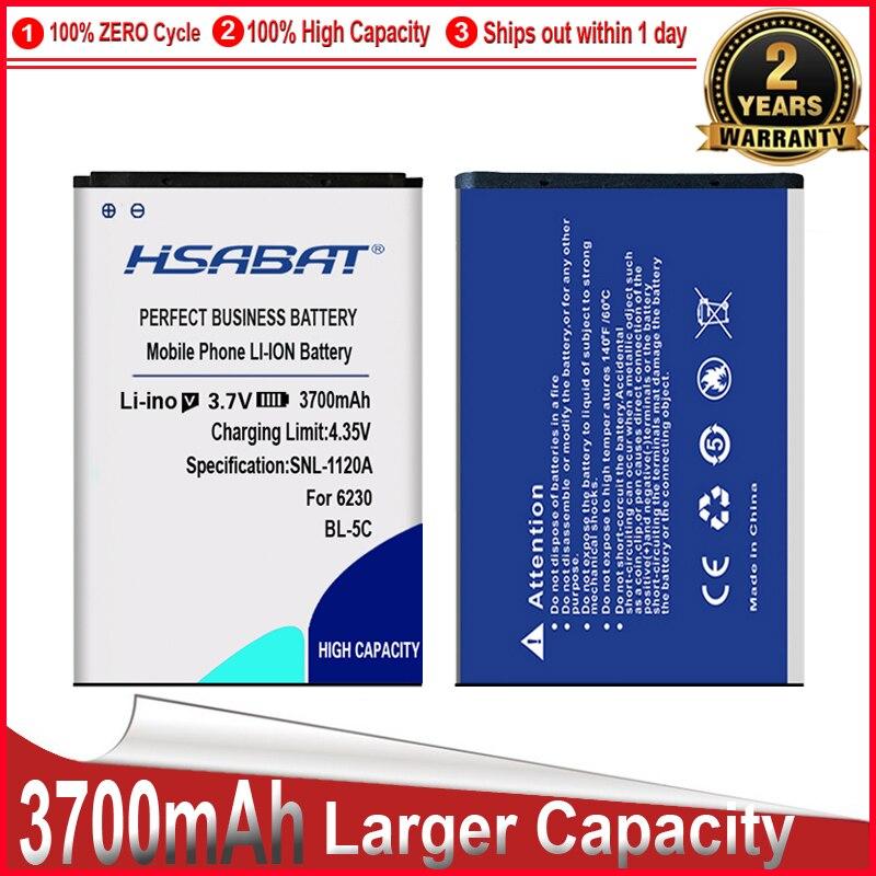 HSABAT BL-5C 3700mAh Batterie pour Nokia 1100 1110 1200 1208 1280 1600 2600 2700 3100 3110 5130 6230 6230i n70 n72