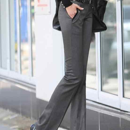Kadınlar Orta Bel Takım Elbise Pantolon Artı Boyutu Iş OL Pantolon 2019 Ilkbahar Sonbahar Kariyer Gri Pantolon Çan Alt Pantolon DV84