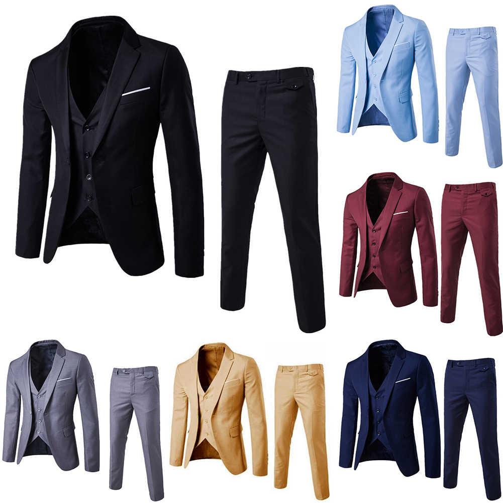 3Pcs/Set Luxury Mens Suits Set Grey Formal Blazer pants Vest Marriage Tuxedo male Business suit set Terno wedding mens suit slim