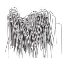 Горячее предложение-садовые колышки 100 шт 3,0 мм x 150 мм/0,12 дюйма x 6 дюймов оцинкованные Ландшафтные наземные скобы, коррозионная сталь Sod газон U Pi