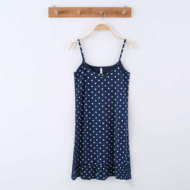 Slip Nightdress GIRL'S New Products 2020 Casual Cotton Korean-style Polka Dot Pajamas Women's Sexy Summer Home Wear Thin