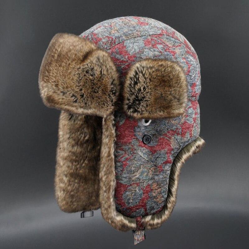 Women Bomber Hats Faux Fur Russian Ushanka Floral Wool Earflap Bohemian  Winter Trapper Hat|Women's Bomber Hats| - AliExpress