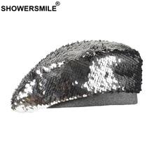 SHOWERSMILE Sequin Hat Berets Women Silver British French Beret Ladies Elegant Party Autumn Flat Cap Female Artist Hats 2019