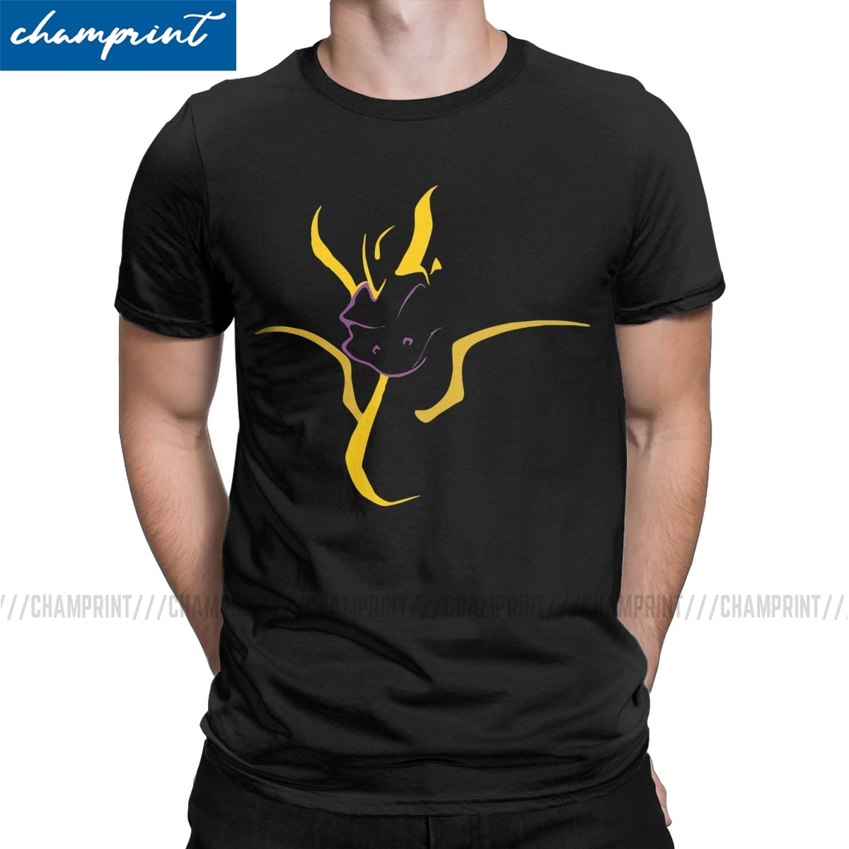 Year Of The Dragon T-Shirts Men Spyro the Dragon Purple Dragon Game Fashion Tee Shirt Round Collar T Shirts Original Clothing image