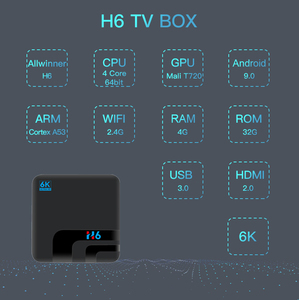 Image 3 - Android 9.0 H6 MAX Allwinner H6 TV Set Top Box 4G 32G HD 6K Media Playerกล่องทีวีGoogle Voice Assistant