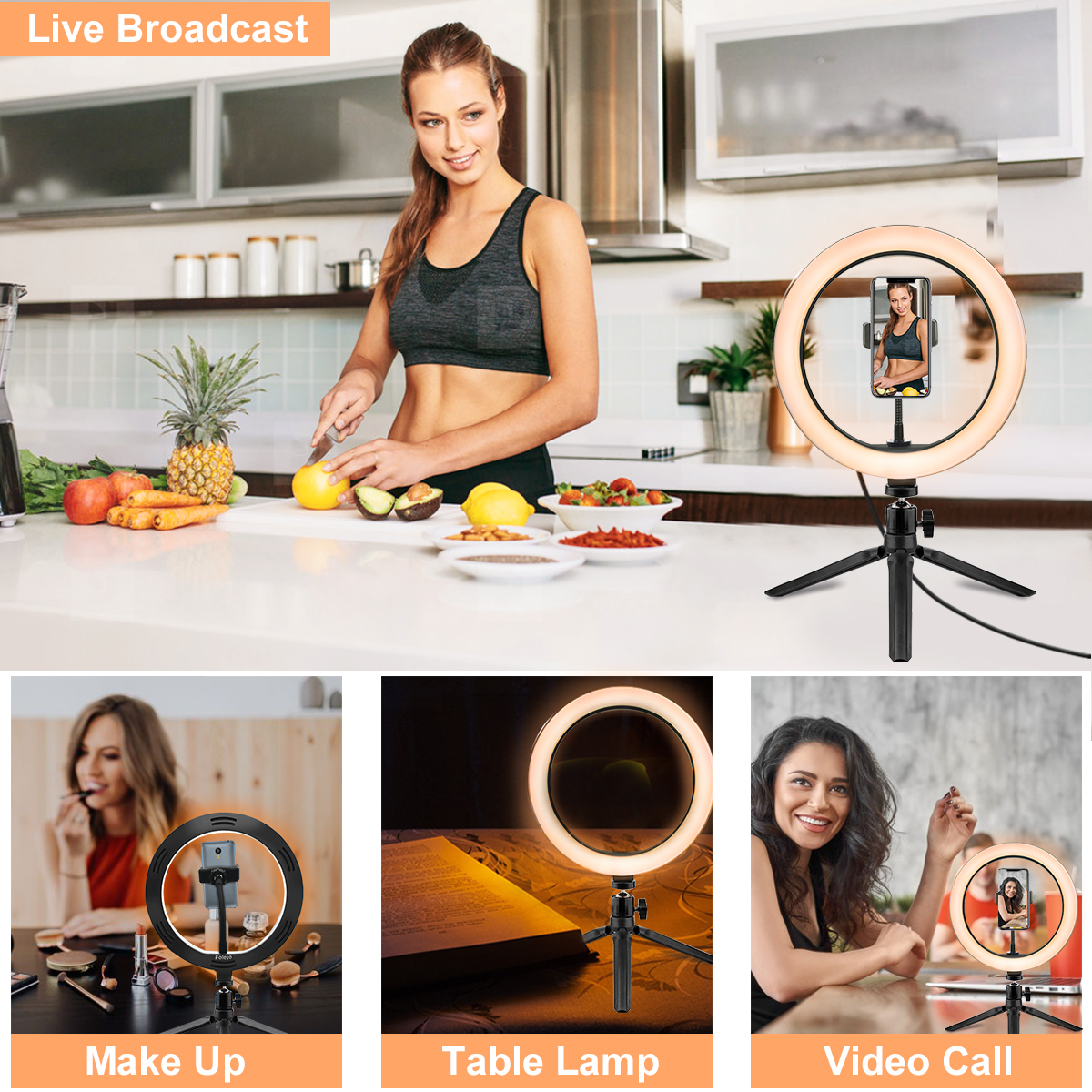 Rovtop 10 Inch Selfie Ring Light with Ring Stand for iPhone Tripod and Phone Holder for Video Photography 11