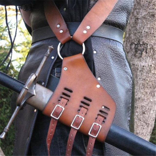 Medieval Sword Sheath Belt Shoulder Strap Knight Weapon Costume Gear Rapier Ring Belt Holster for Pirate Shows Costume Props