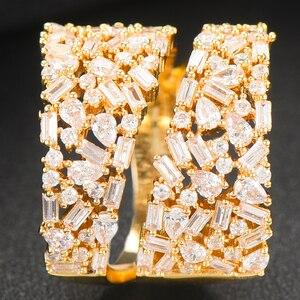 Image 4 - Godki Luxe Corssover Chic Statement Ringen Met Zirconia Stenen 2020 Vrouwen Engagement Party Sieraden Hoge Kwaliteit