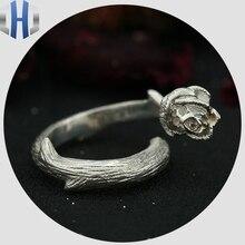 Skull Rose Thorn Ring S925 Sterling Silver Jewelry Skull Ring цены