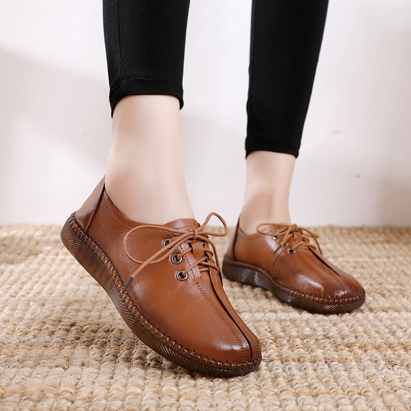 Image 4 - GKTINOO 2020 Spring Autumn Handmade Genuine Leather Flat Casual Shoes Woman Low Heel 2.5cm Soft Bottom Lace Up Female Shoes FlatWomens Flats   -