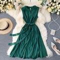 Женское ажурное платье без рукавов, элегантное ажурное платье-миди с круглым вырезом, офисное ТРАПЕЦИЕВИДНОЕ платье без рукавов, лето 2020