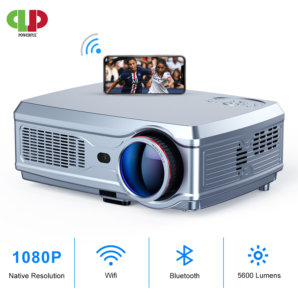 POTENTE Proiettore Full HD 1080P HA CONDOTTO il proiettore 3D Video Beamer HDMI per 4K Astuto di Android 7.1 (2G + 16G) senza fili Wifi Home Cinema title=