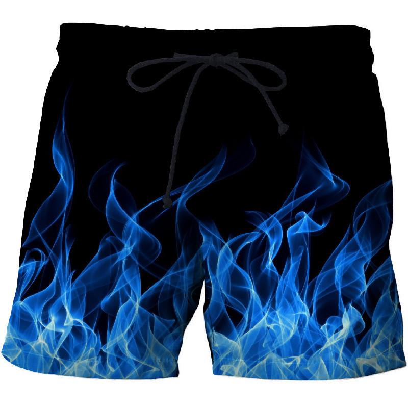 Blue Flame Men's Beach Shorts Pants Fitness Quick-drying Swimwear Street Funny Funny 3D Print Shorts Factory Direct
