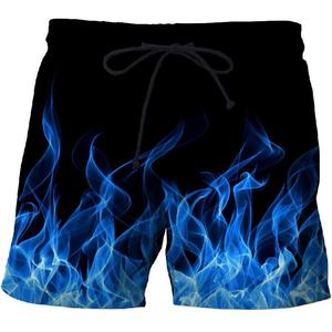 Blue Flame Men's Beach Shorts Pants Fitness Quick-drying Swimwear Street Funny Funny 3D Print Shorts Factory Direct(China)