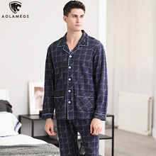Aolamegs Men Pajamas Set Luxury Plaid Print Homewear Cotton Soft Turn-down Casual Style Advanced Male Fashion Sleepwear Autumn