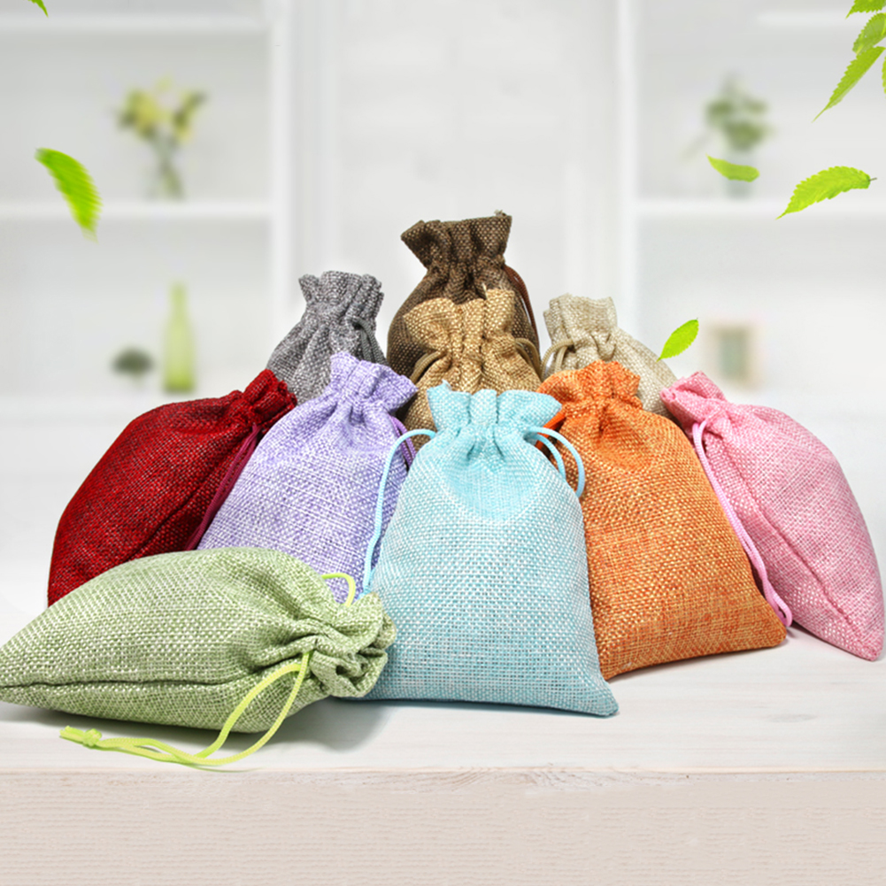 Cotton Linen Unisex Solid Color Drawstring Bags Women Candy Jewelry Makeup Cosmetic Bags Travel Organizer Bag Accessories