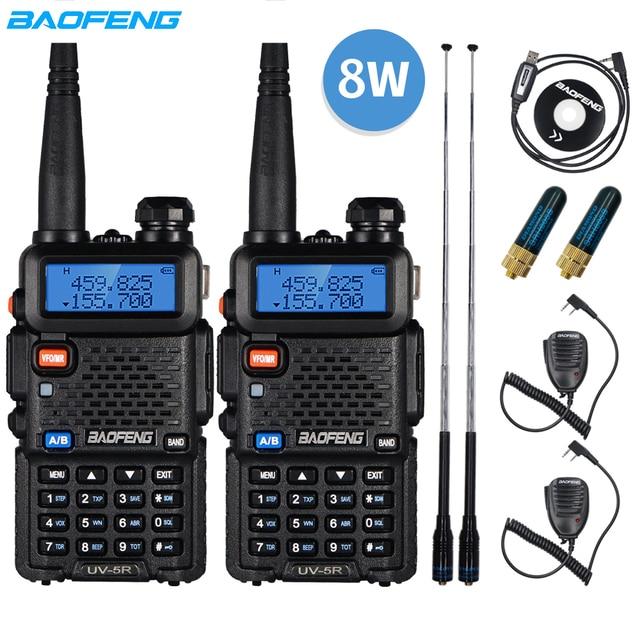 $ US $38.51 2pcs Real 8W Baofeng UV-5R Walkie Talkie UV 5R High Power Amateur Ham CB Radio Station UV5R Dual Band Transceiver 10KM Intercom