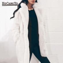 HCYO осенне-зимнее женское меховое пальто размера плюс 3XL с пуговицами, меховые пальто из искусственного меха, женское длинное свободное мягкое пальто из кроличьего меха