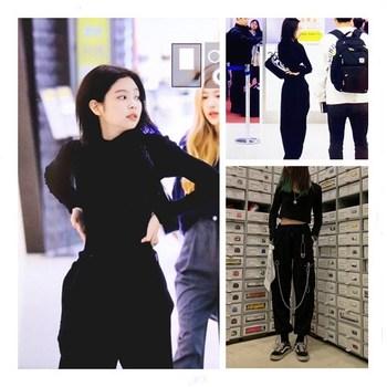 Kpop coreano Celebrity mismo estilo gótico de moda señoras paquete pantalones de pie mujeres hip hop baile callejero negro suelta cremallera Pantalones