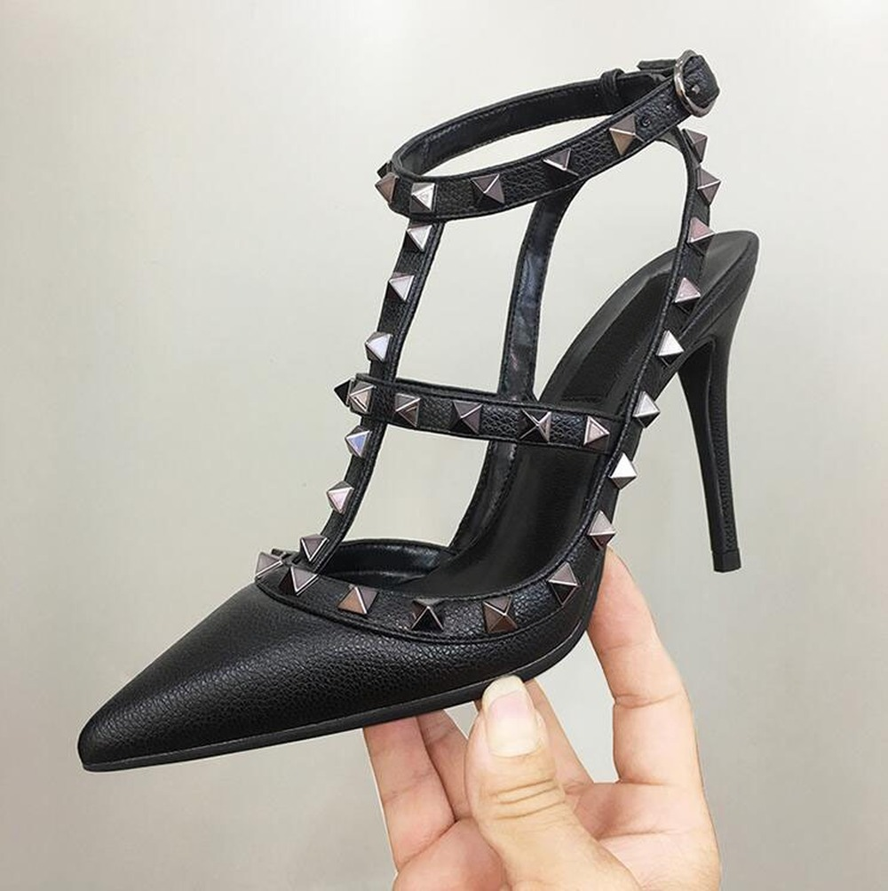 New Hot Black Women <font><b>Platform</b></font> Pumps Ladies <font><b>Sexy</b></font> Point Toe Rivet <font><b>High</b></font> <font><b>Heels</b></font> Shoes Fashion Buckle Studded Stiletto <font><b>Sandals</b></font> 34-43 image