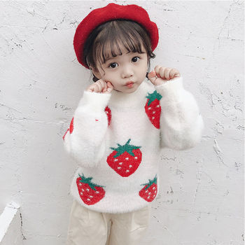ins hot baby girls sweater 2-7 years old Autumn and winter children's sweater Mohair Cartoon Strawberry kids sweaters baby tops boys sweaters high quality baby trui baby girls sweater autumn winter baby warm clothes kids sweater