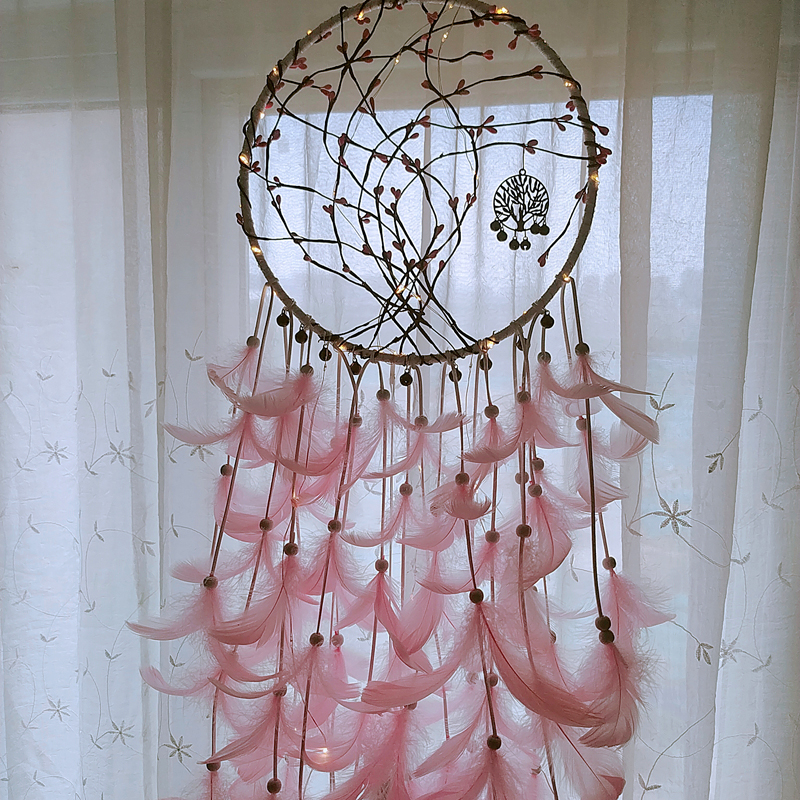 dream catcher wind chims funathome DIY large Hanging decor good sleep gift kids girl friend present LED remote control LIGHT