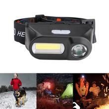 Mini Super Bright Head Light LED Headlamp Outdoor camping USB charging Hiking Night Fishing headlights flashlight Good