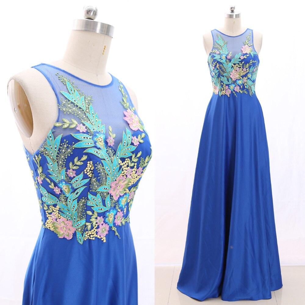 MACloth Royal Blue A-Line O Neck Floor-Length Long Crystal Chiffon   Prom     Dresses     Dress   S 266423 Clearance