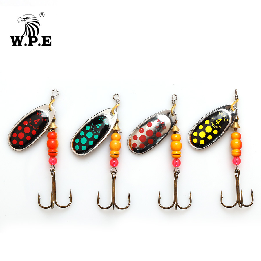 W.P.E Brand New Spinner Lure 1pcs 3#/4#/5# Spoon lure Fishing Tackle Treble Hook Metal Hard Bait Bass