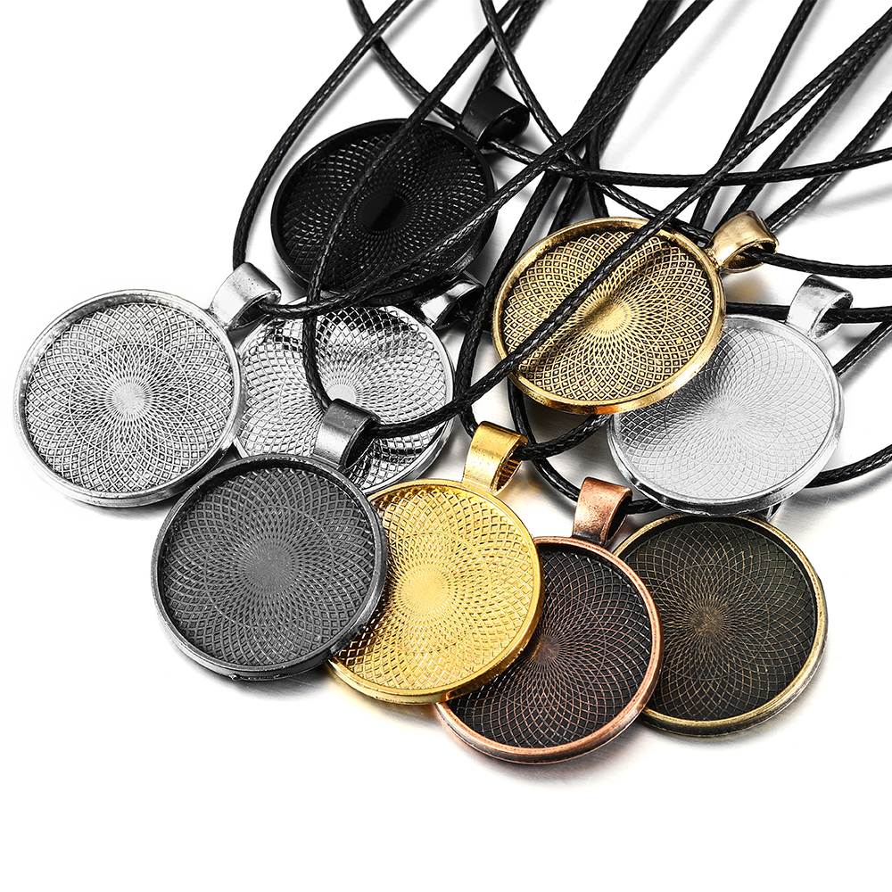 5pcs/lot 25mm Cabochon Base Tray Bezels Blank And Wax String For Necklace Setting Cabochon Base DIY Jewelry Making Supplies