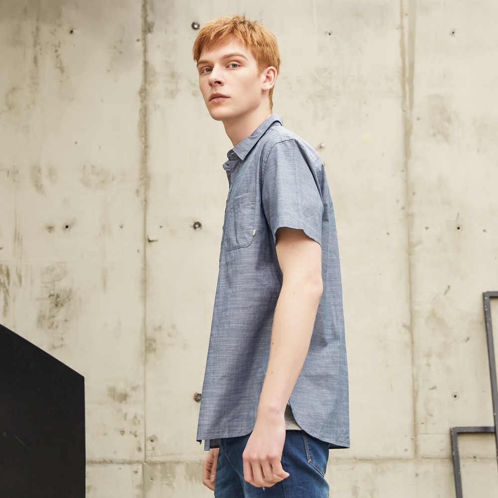 Metersbonwe Kurzarm Shirt für Männer Neue Sommer Kurzarm Trend Einfarbig Hemd Hong Kong Stil Baumwolle Hemd