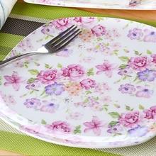 8 inch, real bone china flower dinner plates, porcelain serving platter for stake, ceramic cake plate for dessert, cooking plat