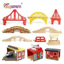 Tren de madera para niños y niñas, pista de madera Compatible con Tomas y amigos, accesorios DIY, regalos