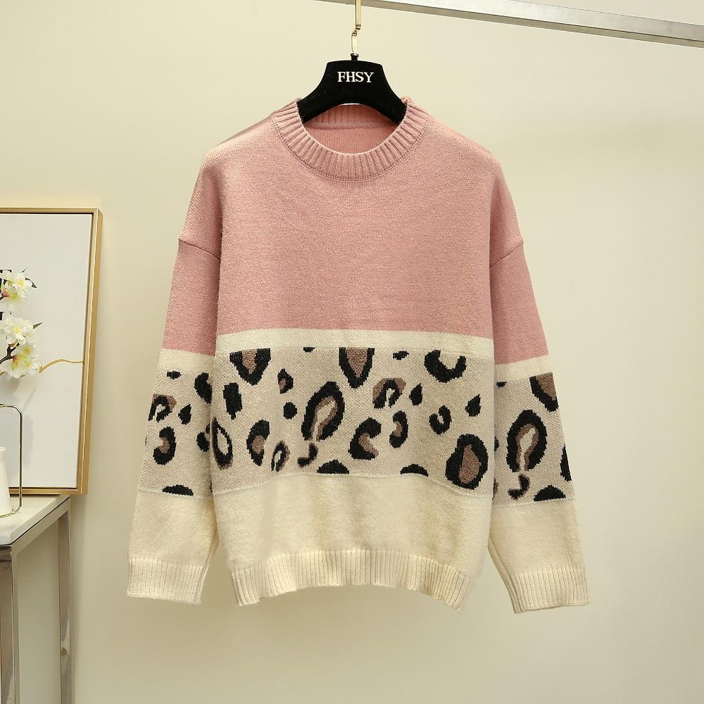 HAMALIEL модный розовый свитер с леопардовым принтом, осенне-зимний женский вязаный Свободный пуловер с длинным рукавом