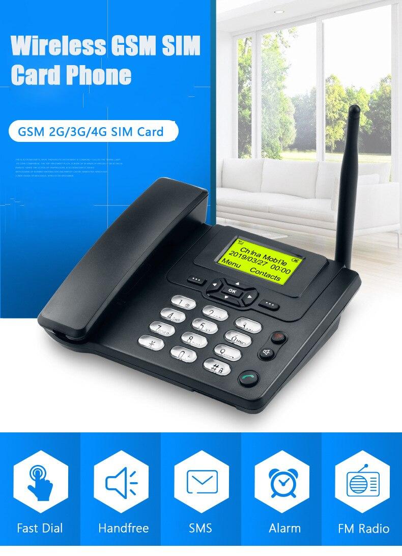 GSM 900/1800MHz prise en charge de la carte SIM téléphone fixe avec Radio FM appel ID mains libres téléphone fixe sans fil maison noir