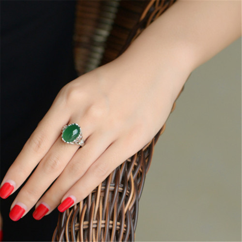 925 Silver Color Jewelry Emerald  Ring For Women Green Topaz Agate Bizuteria Emerald Retro Jade Gemstone S925 Ring With Box